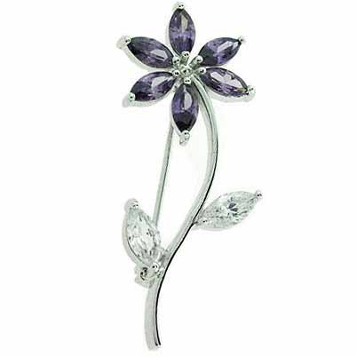Sterling Silver Simulated Amethyst Cubic Zirconia and Simulated Diamond Cubic Zirconia Flower Pin by SilverSpeck