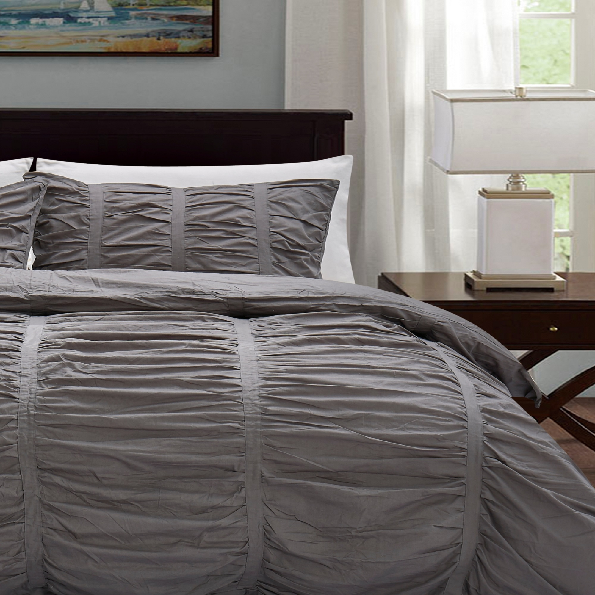 Queen Duvet Cover Set Ruffle n Ruched Vintage Pattern 100/% Cotton 3 Piece King