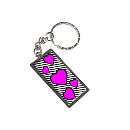 Black Metal Keychain - Love Cute Hearts Pink Black Stripes Metal Rectangle Keychain