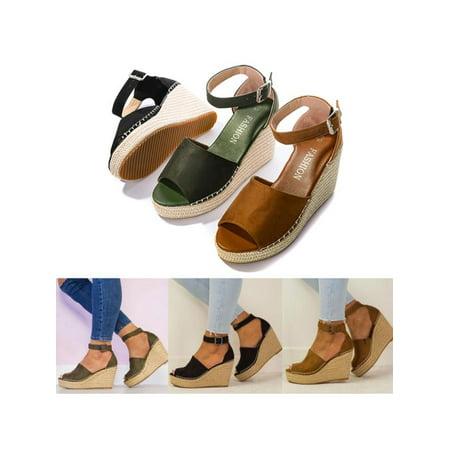 Women's Casual Shoes Espadrille Wedge Sandals Platform High Heels Ankle Strap ()