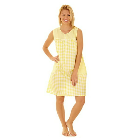 509 Womens Nightgown Sleepwear Cotton Pajamas - Woman Sleeveless Sleep Dress Nightshirt Yellow 2X