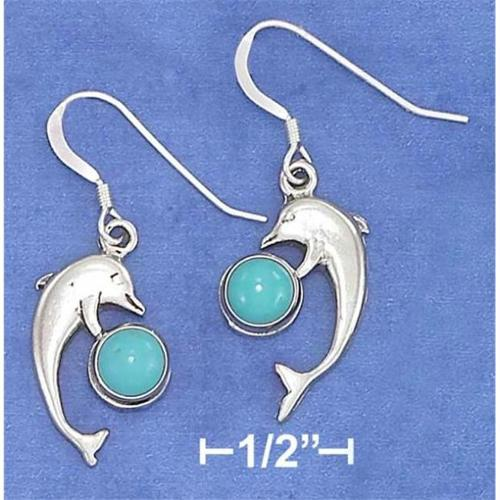 Sterling Silver High Polish Dolphin Earrings with Turquoise Ball On French Wire S