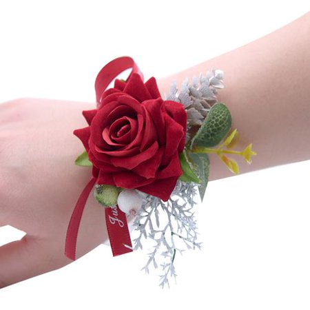 KABOER Rose Flower Wrist Corsage Ribbon Bow Bracelet Wedding Prom Party Bridesmaid Deco](Bridesmaid Bracelet)