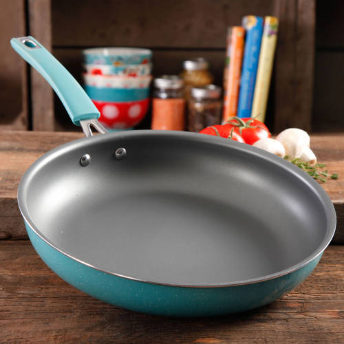 """The Pioneer Woman Vintage Speckle 12"""" Non-Stick Skillet, Silicone and Stainless Steel Bracket Handle"""