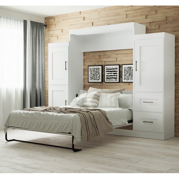 Bestar Edge Queen Wall Bed With Two 25, Queen Wall Bed Unit