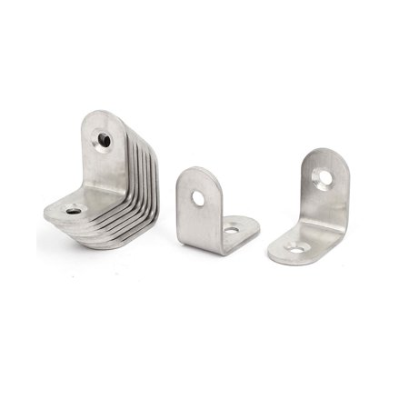 Unique Bargains 25mmx25mmx2mm Stainless Steel L Shaped Angle Brackets Shelf Supports 10pcs - image 2 of 2