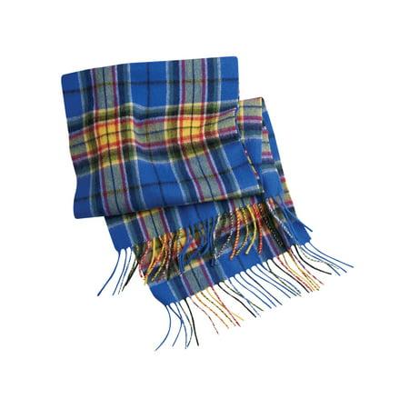 Mist Wool Scarf - Patrick King Unisex Colors of Hope Tartan Wool Scarf Cancer Awareness Blue Plaid