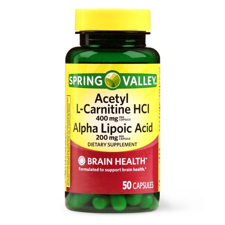 Spring Valley Acetyl L-Carnitine HCL Alpha Lipoic Acid Capsules, 50 (Best L Carnitine Supplement For Weight Loss)