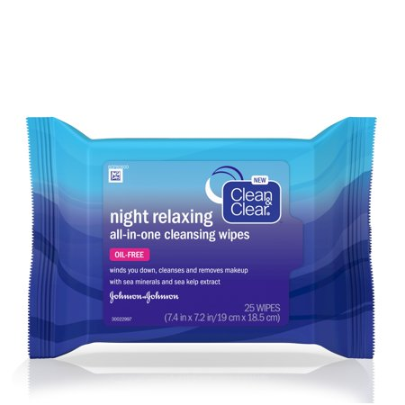 (2 pack) Clean & Clear Night Relaxing All-In-One Facial Cleansing Wipes, 25