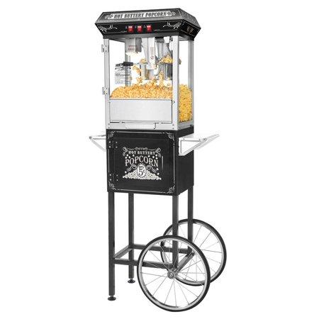 Great Northern Black Good Time 8Oz Full Popcorn Popper Machine W  Cart  8 Ounce