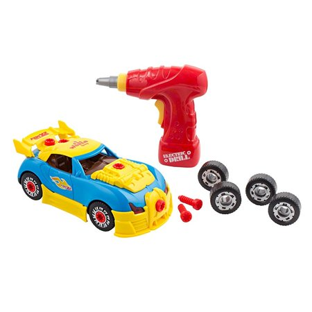 kids toy racing car with lights and sounds - build your own toy car with toy tool drill and 30 take apart pieces