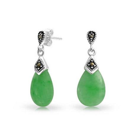 Dyed Green Jade Marcasite Pear Shaped Teardrop Dangle Stud Earrings For Women 925 Sterling