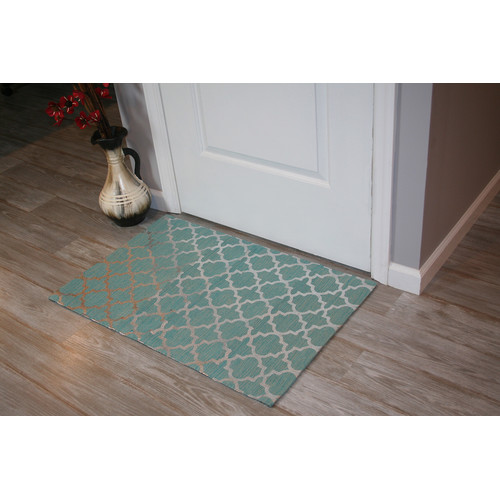 Ess Ess Exports Foil Print Hand-Woven Teal Area Rug