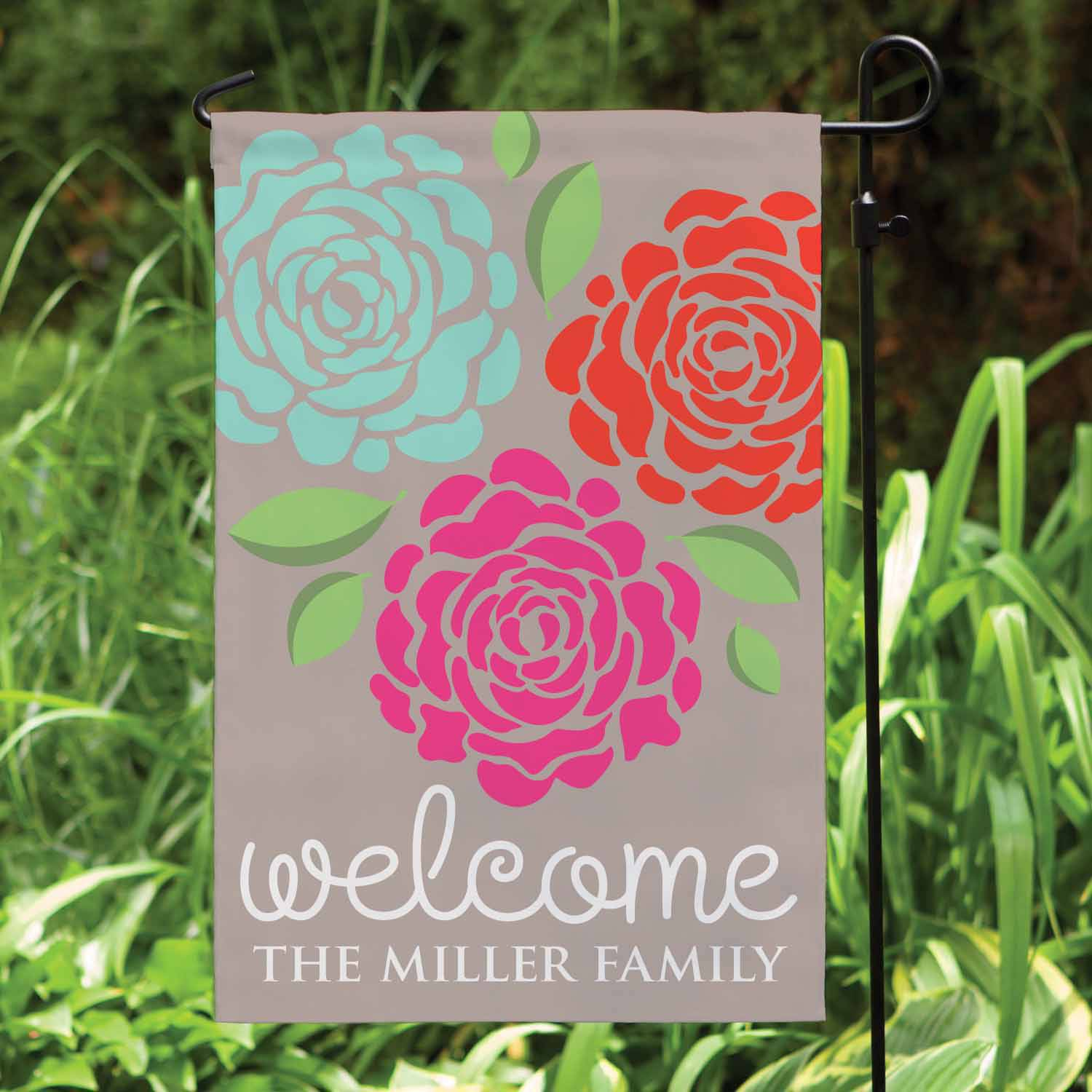 Personalized Lovely Flowers Garden Flag, Grey