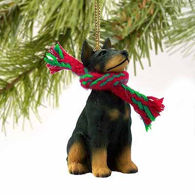 Doberman Pinscher Miniature Dog Ornament - Black &