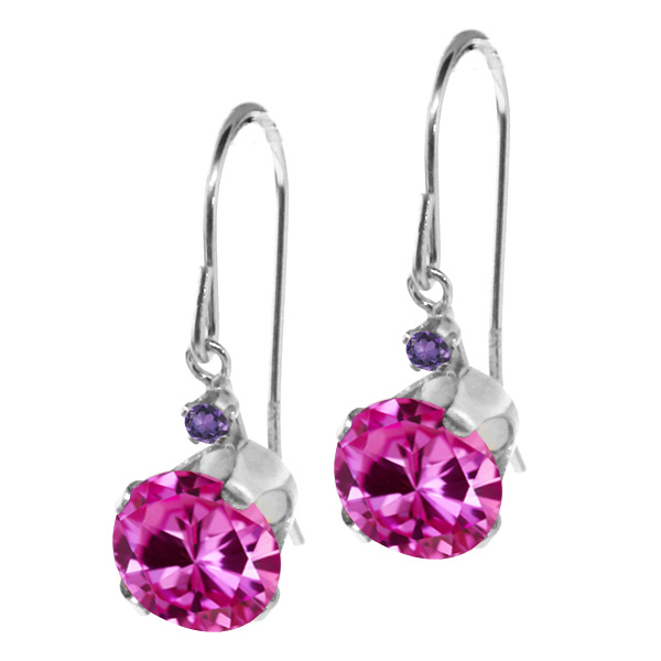2.04 Ct Round Pink Created Sapphire Purple Amethyst 14K White Gold Earrings