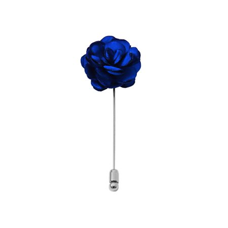 Solid Royal Blue Floral Lapel Pin