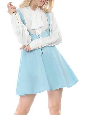 Women's Above Knee Flared Hem Suspender Skirt Dress
