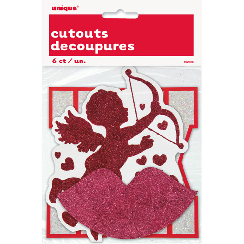 Paper Cut Out Glitter Valentine Decorations, 6-Count
