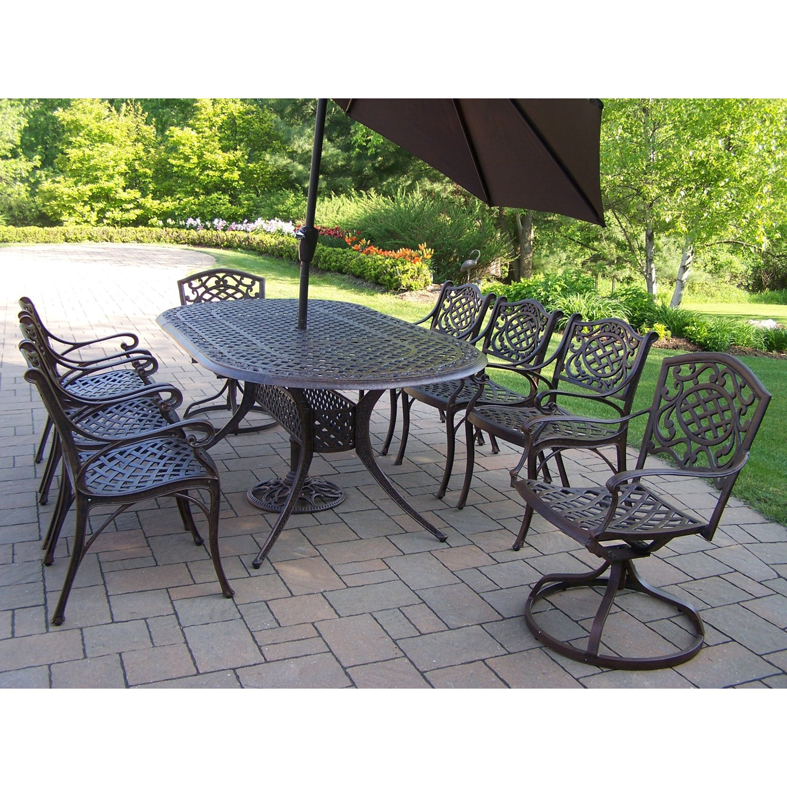 Oakland Living Mississippi Cast Aluminum 82 x 42 in. Oval Patio Dining Set with Swivel Chairs & Tilting Umbrella with Stand - Seats 8