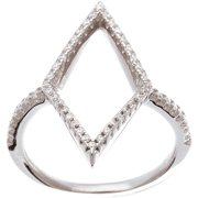 CZ 18kt White Gold over Sterling Silver Open Diamond Ring