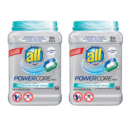 (2 pack) all POWERCORE PACS Laundry Detergent 50 ct Tub