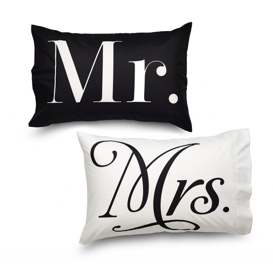 Where The Polka Dots Roam Queen Size Mr. and Mrs. Pillowcase Set White and Black