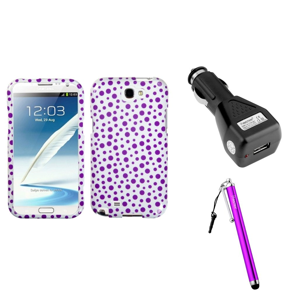 Insten Purple Polka Dots Hard Case Car Charger Adapter Stylus For Samsung Galaxy Note 2