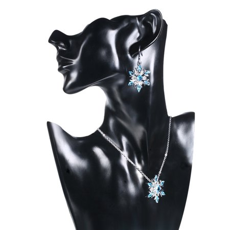 Creative Two-color Snowflake Shape Eardrop Chic Fashion Women Long Earring - image 2 de 4
