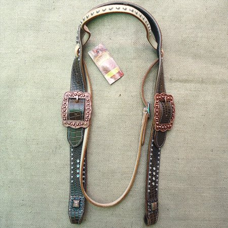Custom Belt Leather Horse Headstall Bridle Bling Show Crocodile (Custom Conchos)