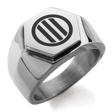 Stainless Steel Narita Samurai Crest Engraved Hexagon Crest Flat Top Biker Style Polished Ring