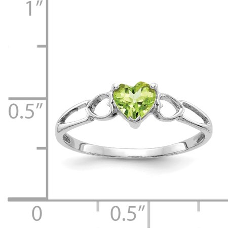 10k White Gold Green Peridot Birthstone Band Ring Size 6.00 Stone August Fine Jewelry Gifts For Women For Her - image 7 of 9
