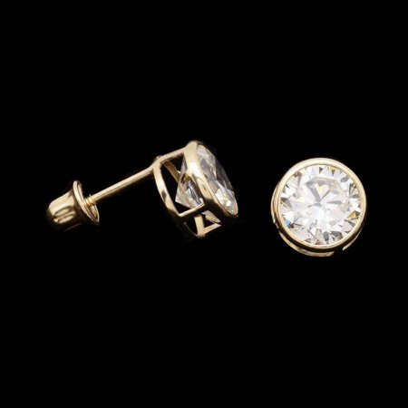 2Ct Created Diamond 14k Yellow Gold Bezel Round Screw Back Stud Earrings 6mm