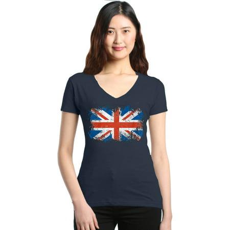 Kids Union Jack Dress (Shop4Ever Women's Union Jack British Flag United Kingdom Slim Fit V-Neck)