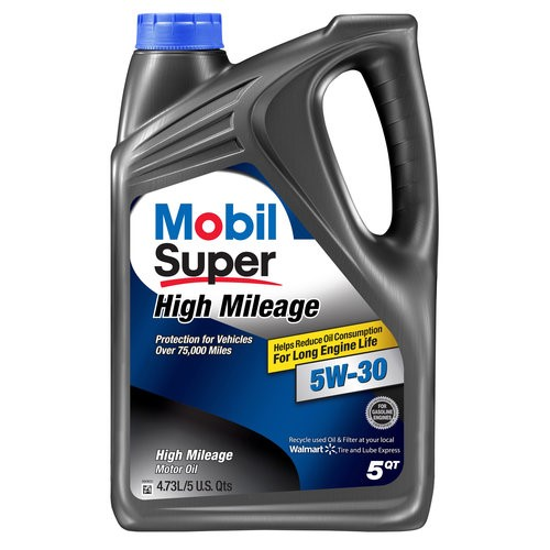 Mobil Super 5W-30 High Mileage Motor Oil, 5 qt.