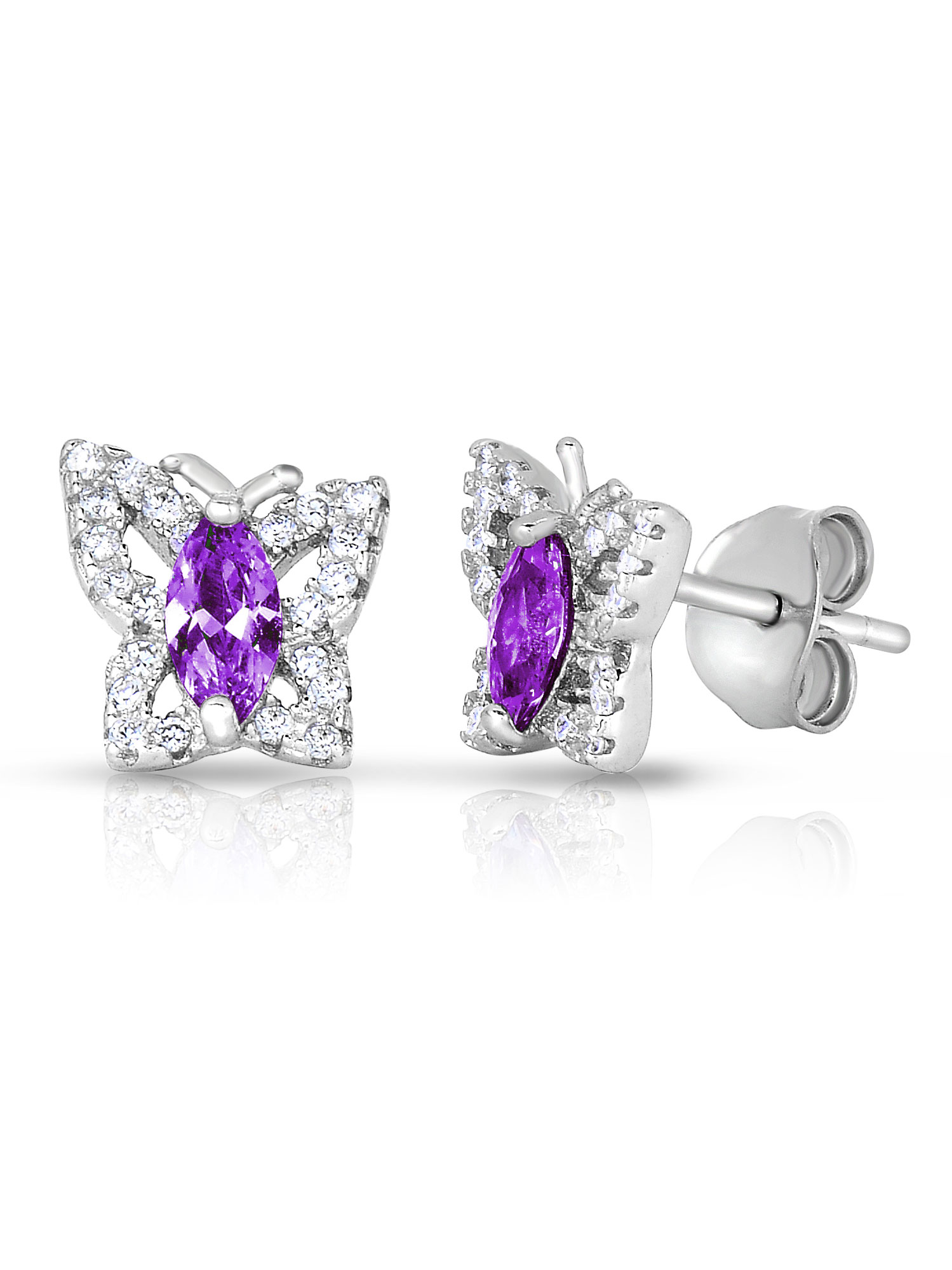 .925 Sterling Silver Simulated Birthstone Cubic Zirconia Butterfly Stud Earrings for Girls (February)