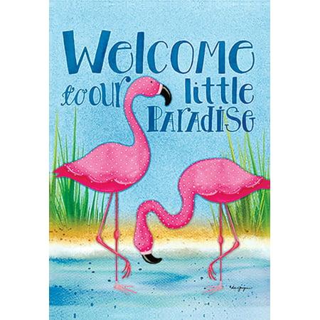 Welcome Paradise Flamingos Garden Flag Summer Nautical Birds 12 5  X 18