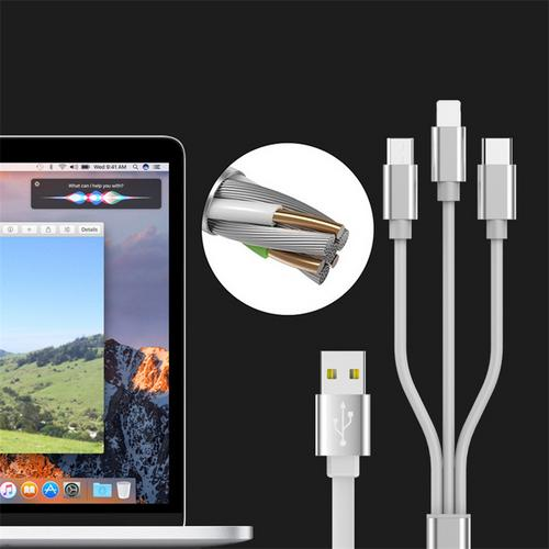 Multi Charger Cable, 3 in 1 Multiple USB Syncing Data Charging Cable Flat Cord Adapter with Lightning USB Type C / Micro USB Connector Ports for Smartphone(Black, 3 in 1)