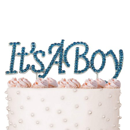 It's a Boy, Newborn Birthday Cake Topper, Crystal Blue Rhinestones on Silver Metal, Baby Shower Party Decorations, Favors - Baby Shower Cake For Boys