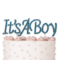It's a Boy, Newborn Birthday Cake Topper, Crystal Blue Rhinestones on Silver Metal, Baby Shower Party Decorations, Favors