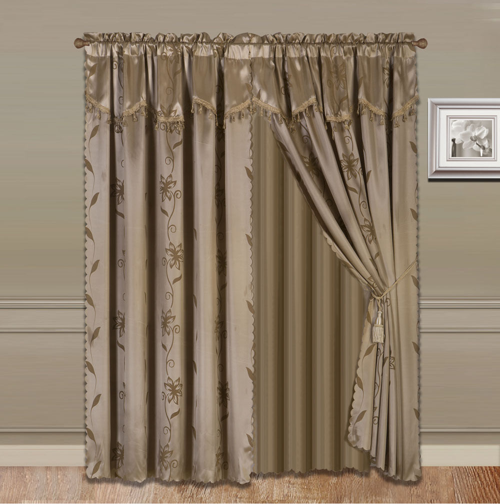 Nada Taupe Tan Complete Window Curtain Set 2 Panels Faux