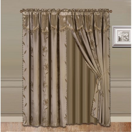Floral Design Faux Silk (NADA TAUPE TAN COMPLETE WINDOW CURTAIN SET 2 panels faux silk  LEAF FLORAL 2 PANEL solid SHEER 2 attached VALANCE 2 TASSEL THICK HEAVY WINDOW CURTAIN drape 84