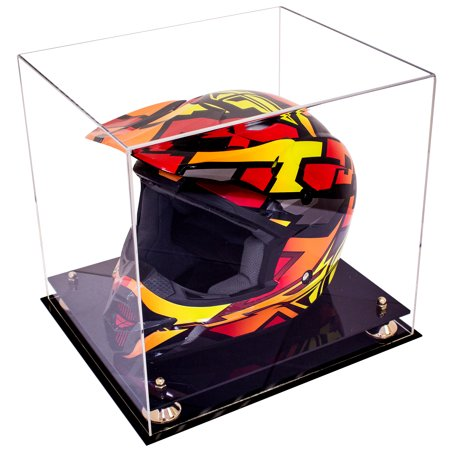 Deluxe Acrylic Full Size Racing Helmet Display Case with Metal Risers ()