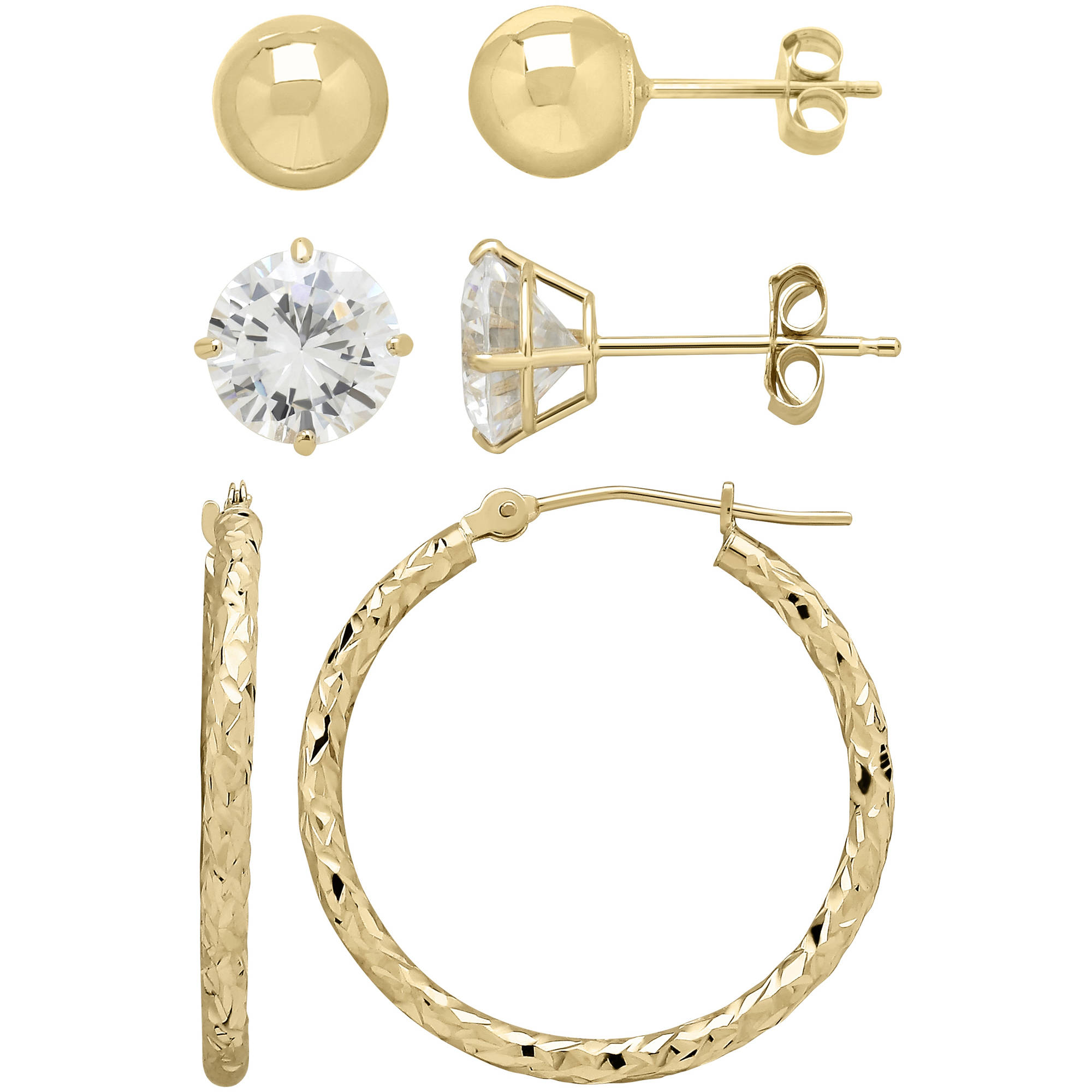 Simply gold 10kt Yellow Gold Ball Stud, Cubic Zirconia Stud and Hoop Earrings Set