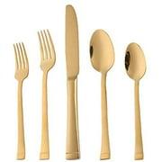 Gold Flatware Set 5 Pieces Stainless Steel Cutlery Set Metal Tableware Knife Fork Spoon Set