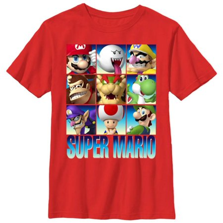 Youth: Super Mario- Game Faces Apparel Kids T-Shirt - Red](Rex Kid)