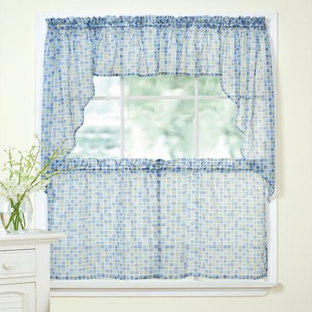 Tiles Block Print Sheer Voile Kitchen Curtains 24 36 Tier Pair