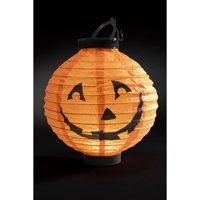 "9"" Orange and Black Light Up LED Pumpkin Lantern Halloween Decoration"