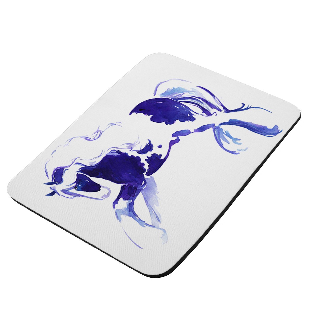 Prancing Piebald Gypsy Vanner Stallion in Purple and Blue Abstract Horse Art by Denise Every - KuzmarK Mousepad / Hot Pad / Trivet