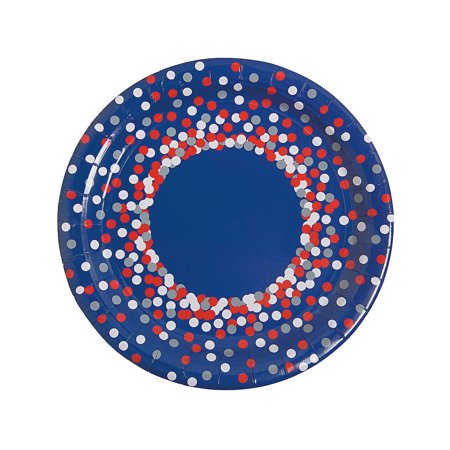 Fun Express - Patriotic Confetti Dinner Plates (8pc) for Fourth of July - Party Supplies - Print Tableware - Print Plates & Bowls - Fourth of July - 8 Pieces](Fourth Of July Plates)
